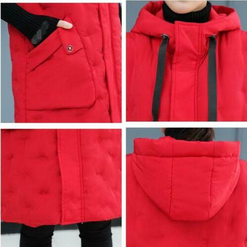 Winter Womens Sleeveless Jacket Hooded Quilted Coat