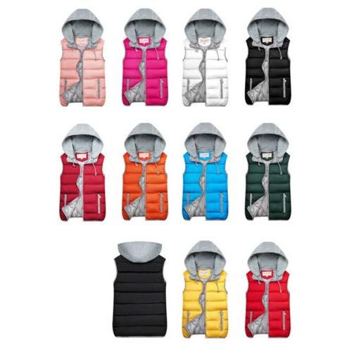 Winter Hooded Sleeveless Waistcoat Ladies Quilted Gilet