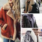 Winter Womens Suede Wool Coat Motorcycle Bike Jacket Warm Fa