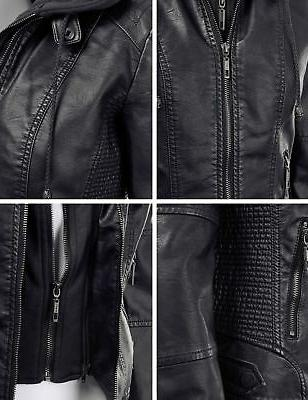 Made By Womens Faux Quilted Motorcycle Jacket