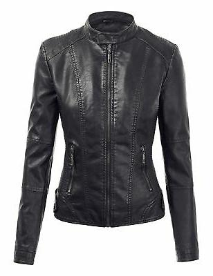Made Womens Quilted Motorcycle Jacket with Hoo...