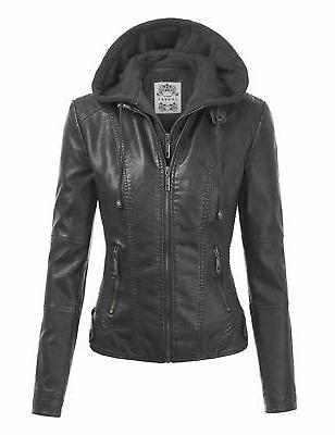 wjc1044 womens faux leather quilted motorcycle jacket