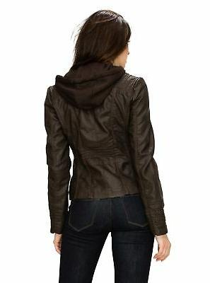 Made Womens Removable Motorcyle Jacket Coffee