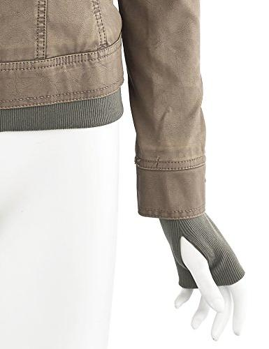 WJC664 Womens Leather Jacket With Hoodie Khaki