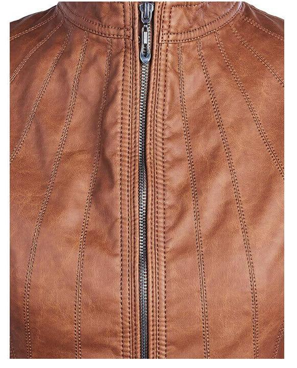 Lock Love Womens Panelled Faux Leather Moto ~B34
