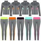 Women Active Wear Ladies Gym Sports or Jacket Leggings Zip T
