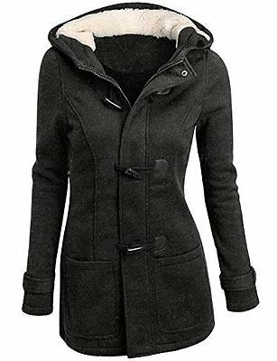 Women Buckle Trench Coats Womens Wool Blended Classic Pea Co