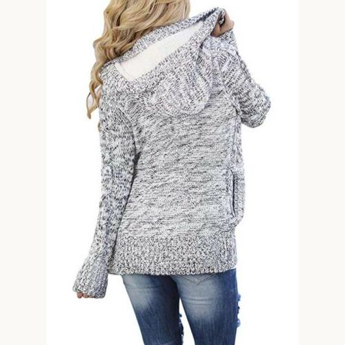 Sidefeel Women Cardigans Button Cable Sweater Coat Grey