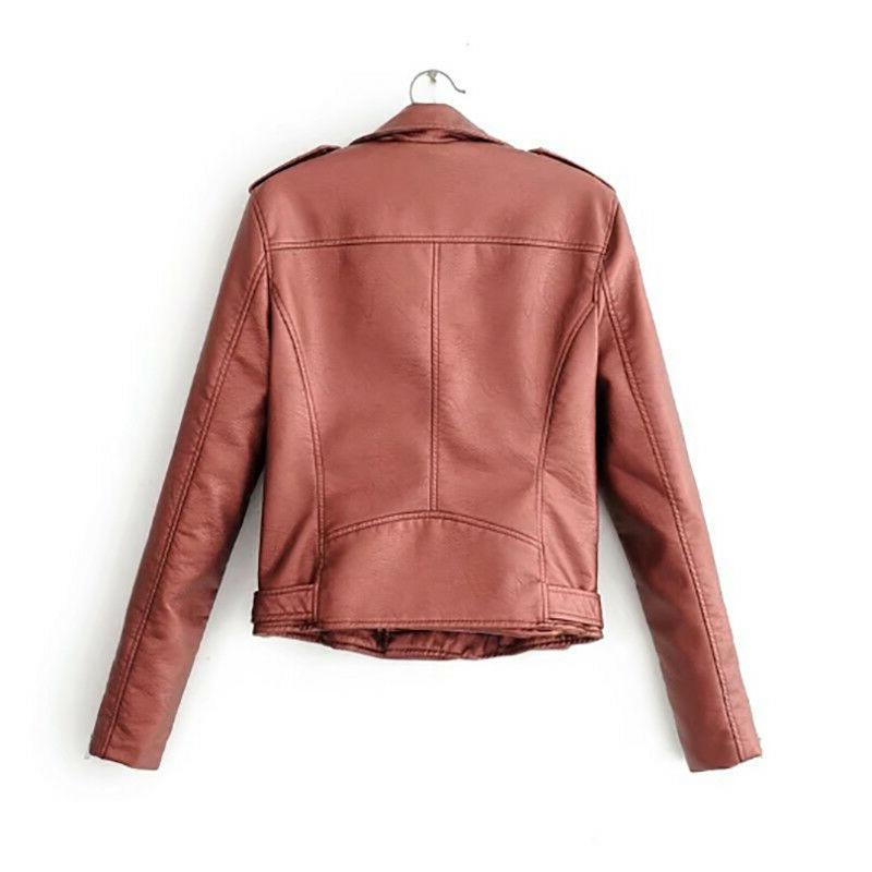 Women Slim Biker Motorcycle Lapel Leather Short Coat Outwear Tops