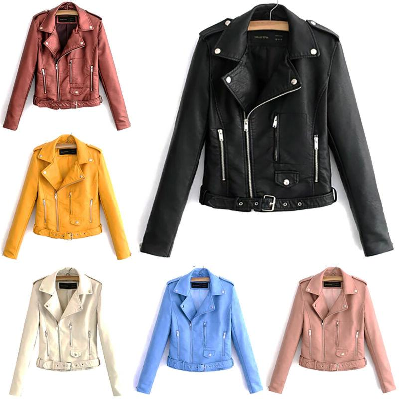 women pu punk slim biker motorcycle jacket