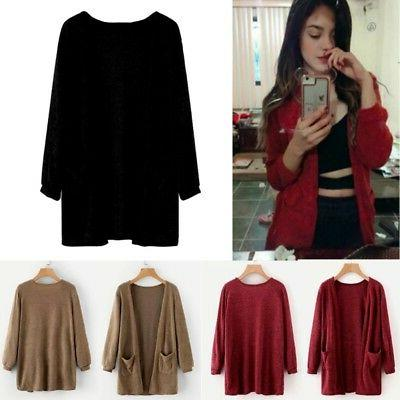 Women Long Knitted Cardigan Loose Outwear Coat