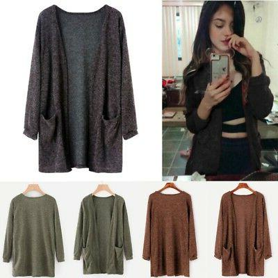 Women Sleeve Knitted Cardigan Outwear Tops