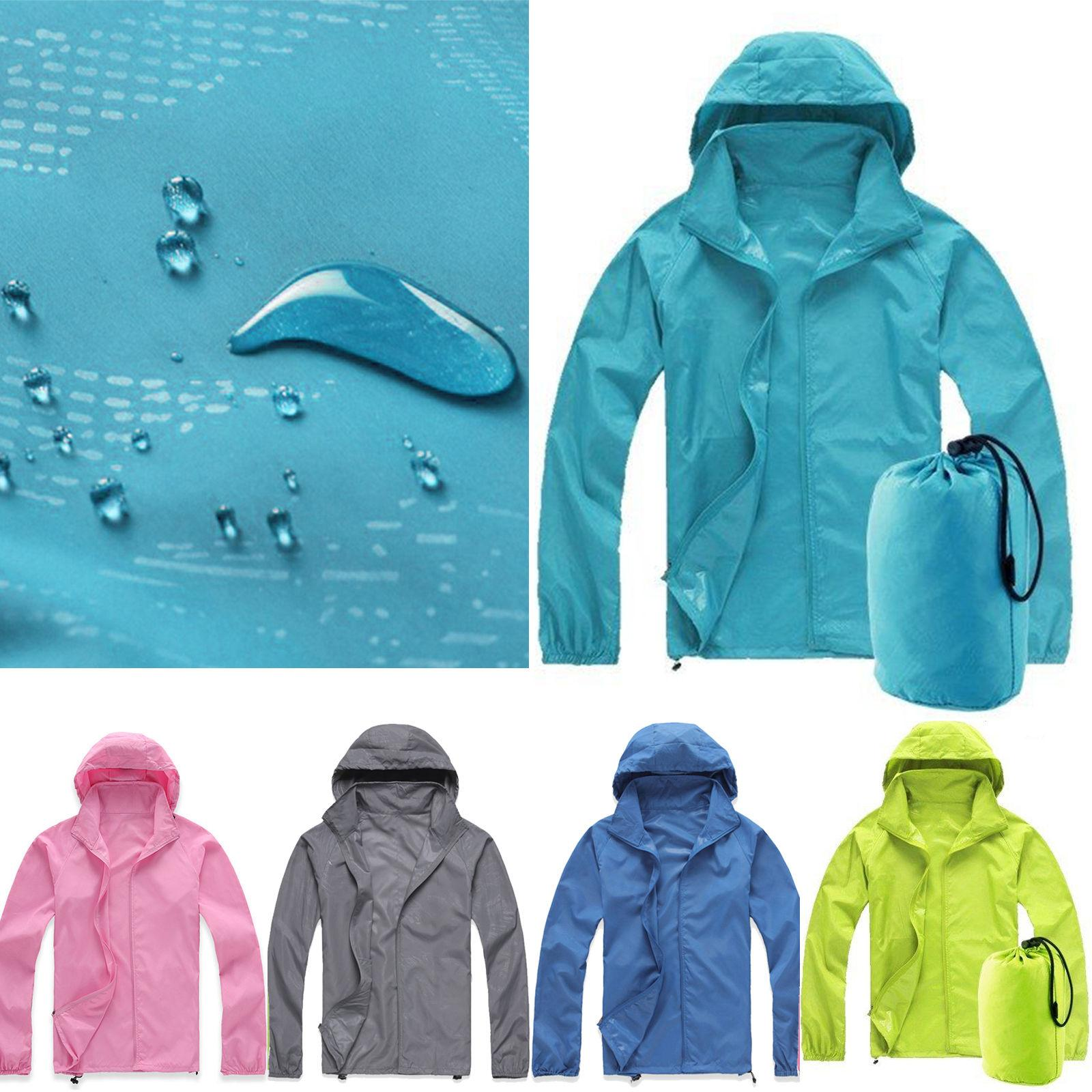 Women Men Raincoat Hooded Windbreaker Jacket Tops