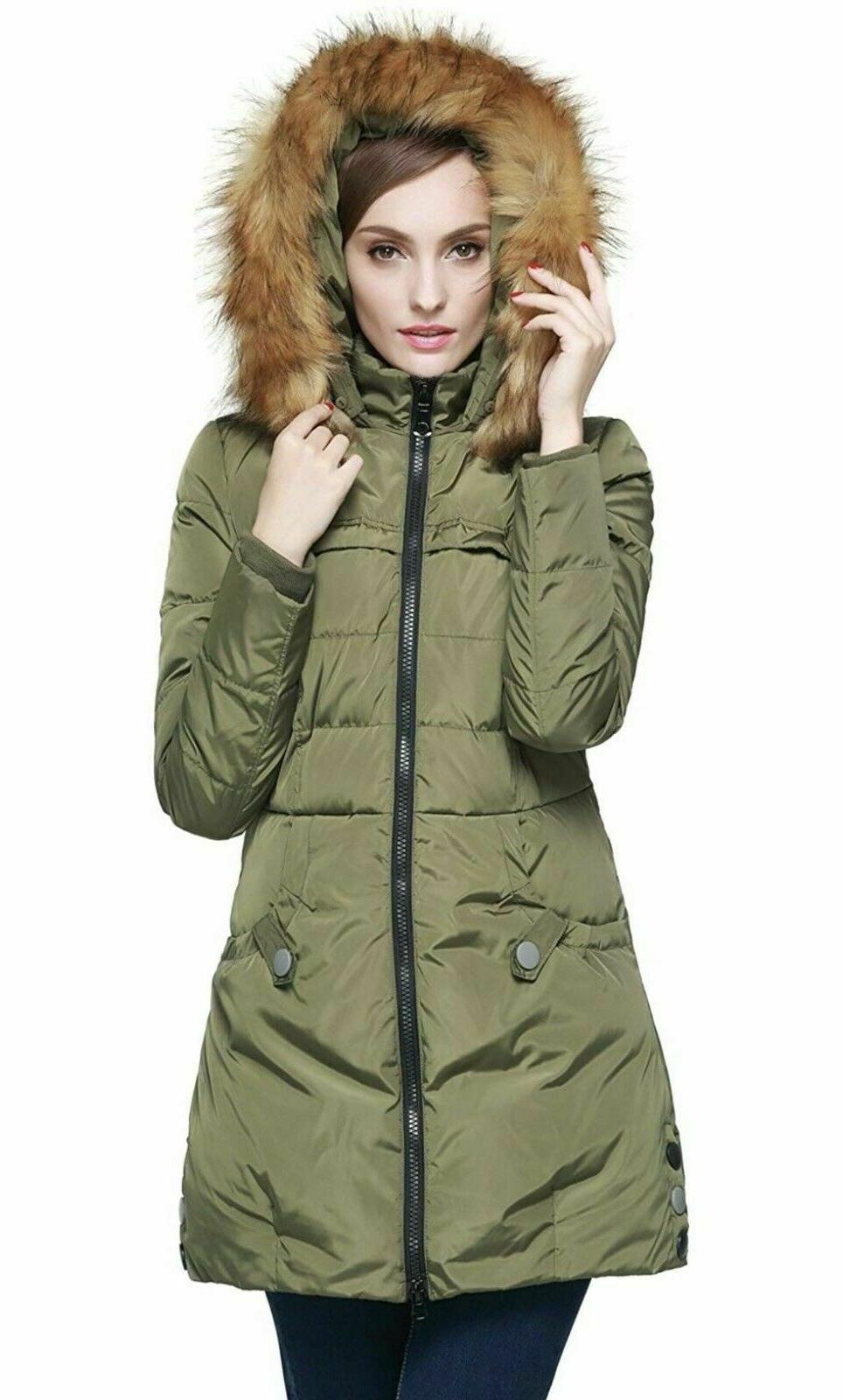 women s down jacket hood small green