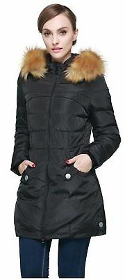 Orolay Women's Down Jacket with Faux Fur Trim Hood Black X-S