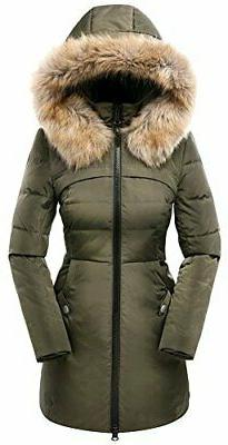 Orolay Women's Down Jacket with Faux Fur Trim Hood Made in U