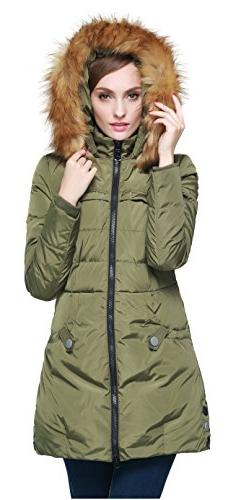Orolay Women's Down Jacket with Faux Fur Trim Hood Green M