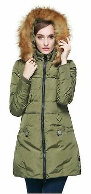 Orolay Women's Down Jacket with Faux Fur Trim Hood Green Sma