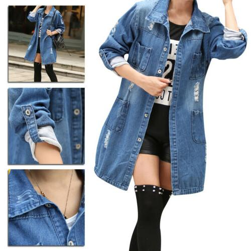women s fashion casual long sleeve denim