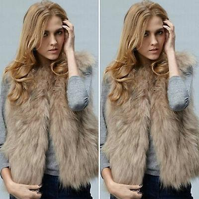 Women's Fur Jacket Coat Body Warmer Sleeveless Vest Waistcoat