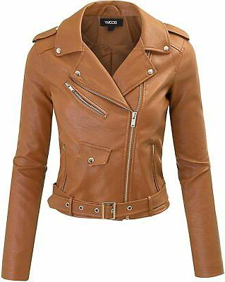 women s faux leather jacket cropped motorcycle