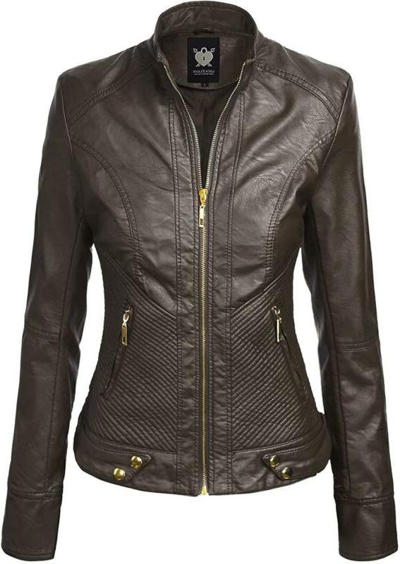 Lock And Love Women'S Faux Leather Quilted Biker Jacket