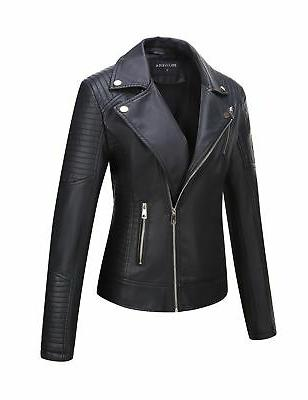 Bellivera Leather Short Jacket,Moto Casual for Winter