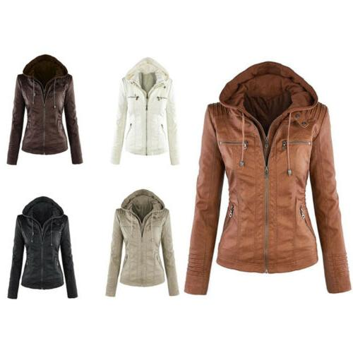 Women's Hoodie Leather Fake Coat Winter