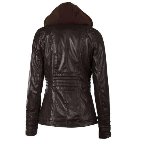 Women's Leather Fake Coat Jacket Winter