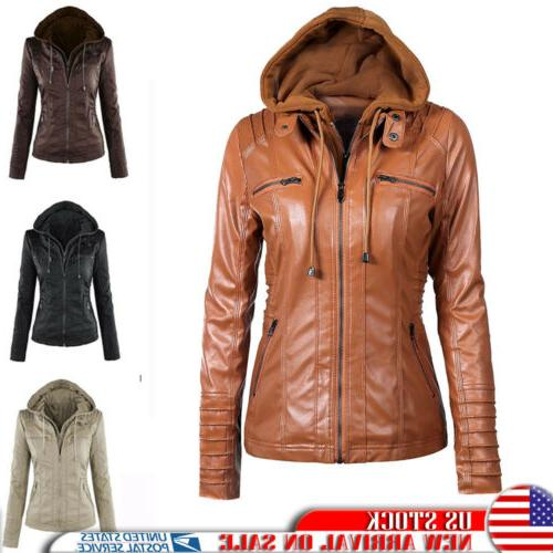 women s hoodie leather zipper fake two