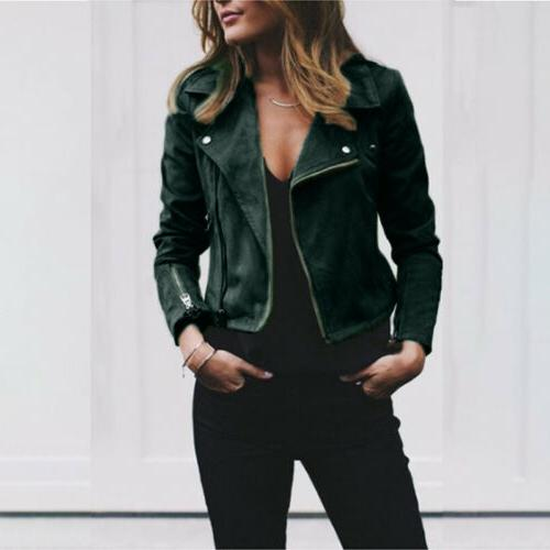Women's Zip Up Jacket Biker Coat Casual Crop Outwear