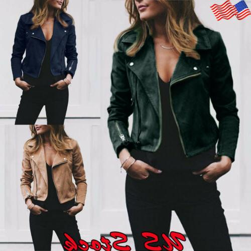 women s ladies faux leather zip up