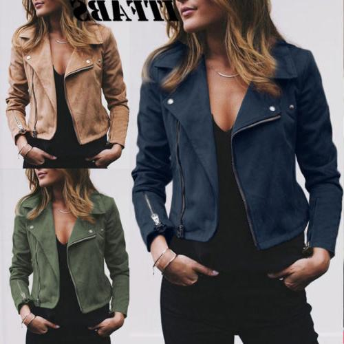 Women's Ladies Jacket Flight Coat Zip Casual Loose
