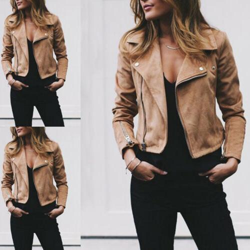 Women's Jacket Flight Coat Zip Biker Casual Clothes