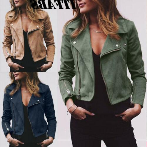 Women's Ladies Flight Coat Up Biker Casual