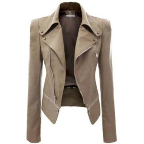 Womens Leather Coat Punk Jacket Lapel Outwear US