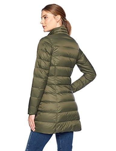 Amazon Women's Lightweight Water-Resistant Packable Coat, Olive Depths,