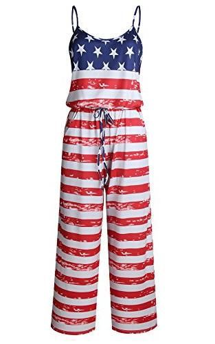 Women's Sleeveless Flag Wide Lounge Rompers
