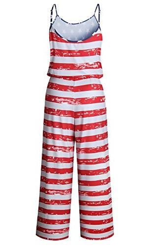 Women's Sleeveless Flag Jumpsuits Casual Wide Pants Rompers Red M