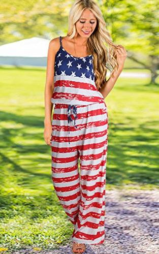 Women's Sleeveless Jumpsuit Flag Casual Wide Leg Rompers Red M