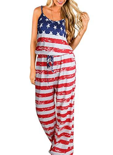women s sleeveless jumpsuit comfy flag striped