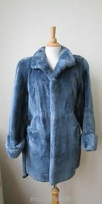Women's Sz 8 New Blue Sheared Beaver Fur Coat Jacket CLEARAN
