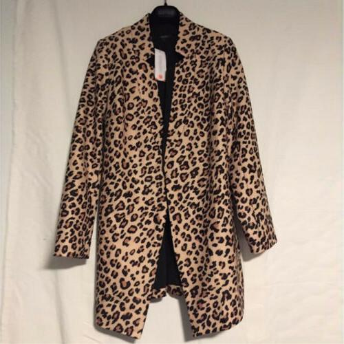 Women's Leopard Sweater Tops Casual Long Blazer