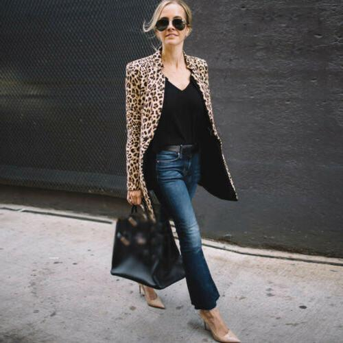 Women's Leopard Jacket Sweater Casual Long Sleeve Coat