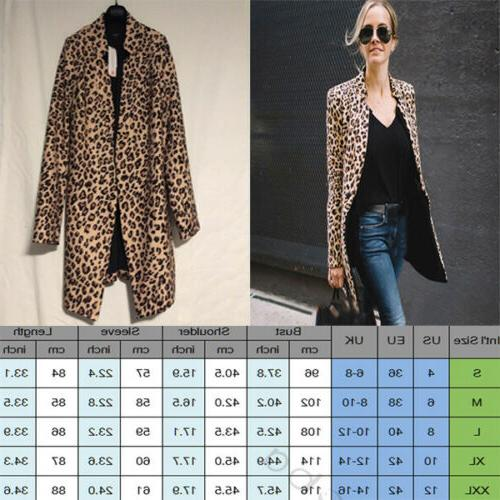Women's Leopard Sweater Long Blazer Coat