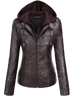 Tanming Women's Womens Faux Leather Jackets Small, Dark Coffee