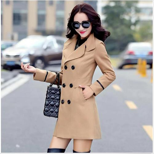 Women's Wool Breasted Coat Long Coat Jacket