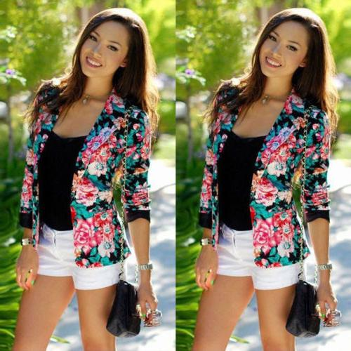Women Slim Casual Blazer Jacket Tops Outwear Plus
