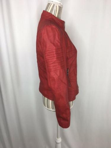 Made By Johnny Women's Jacket Small Moto Faux Leather Theater Greese
