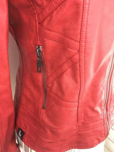 Made Jacket Moto Red Faux Theater Greese